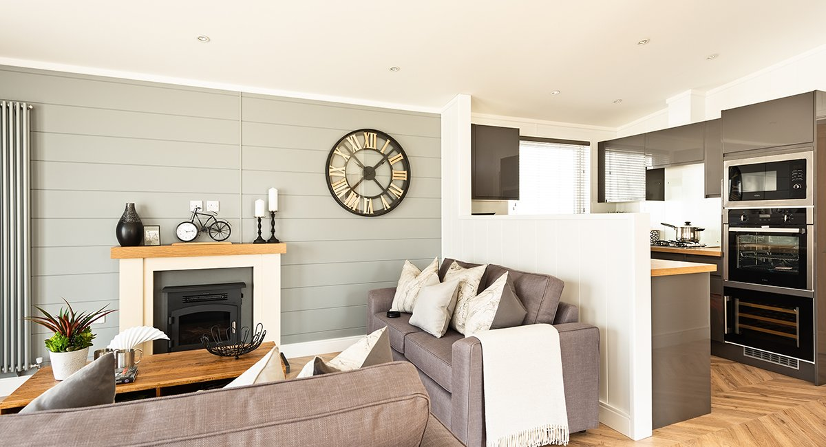 The living room area of the Dovecote holiday lodge